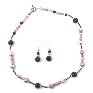 Pink Pearl & Black Bead Necklace & Earring Set